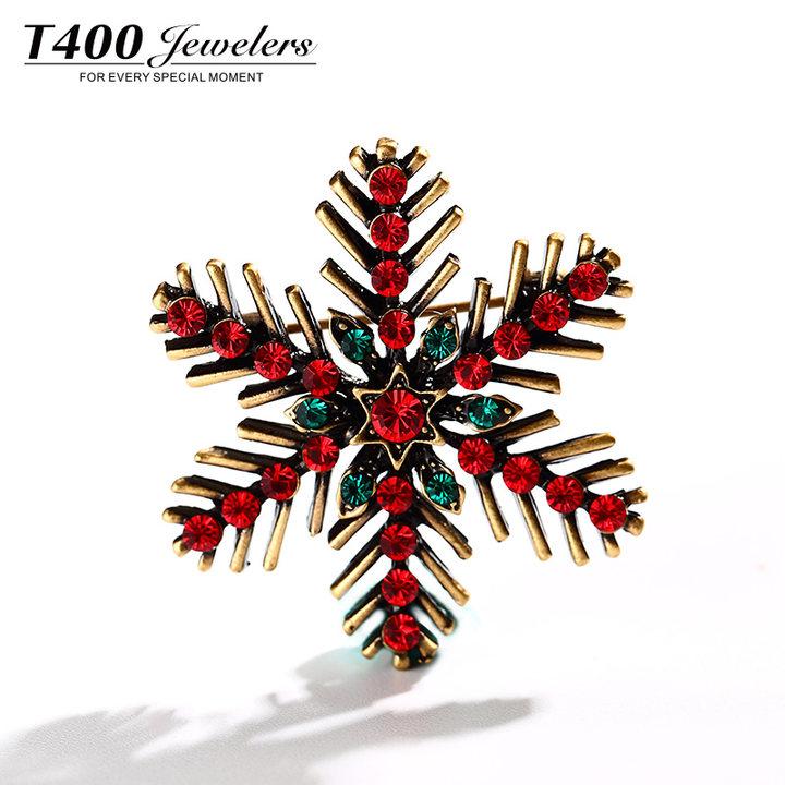 T400圣诞七彩雪花胸针女装配饰