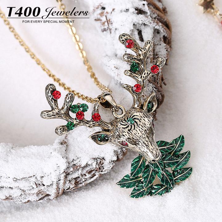 T400圣诞复古毛衣项链女长款百搭韩国秋冬简约欧美个性