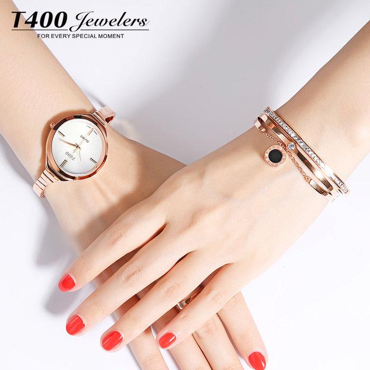 T400女士韩版简约手表手镯套装时尚水晶手链简约个性复古潮人首饰