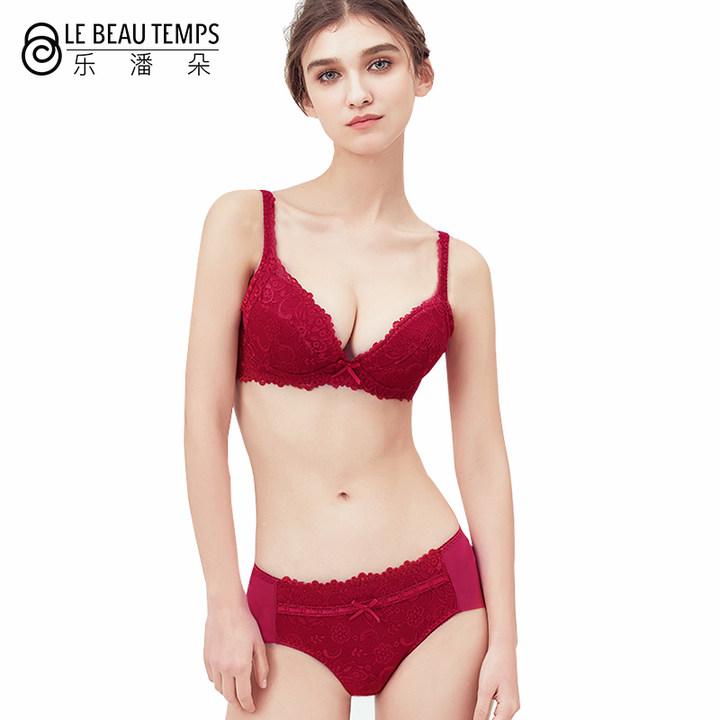乐潘朵 2018新年本命年红色蕾丝文胸套装