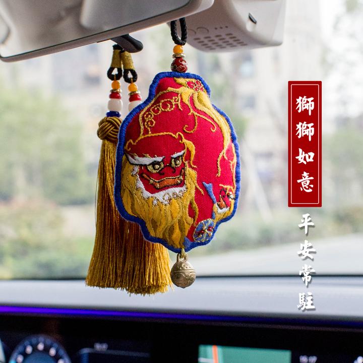 王的手创太狮少保挂件车挂吉美车挂刺绣挂件狮子狗生肖狗年吉祥物