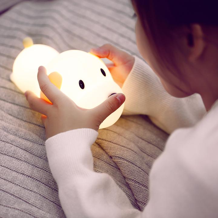 Doulex呆呆汪硅胶小夜灯卧室插电迷你夜光灯喂奶床头灯充电节能灯