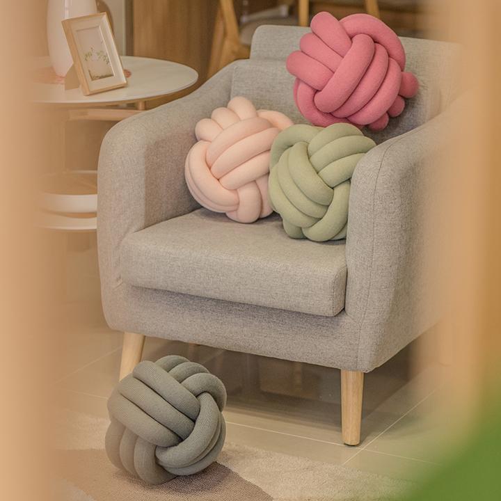 亦生/Magic Channel手工打结球形抱枕沙发椅子靠垫办公室腰枕靠背