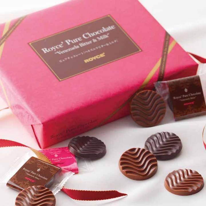 包邮顺丰!日本进口ROYCE情人节限定波浪牛奶巧克力片40枚礼盒