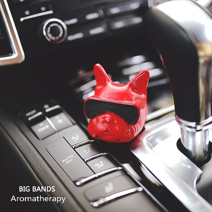 BigBands斗牛犬法斗硅藻纯狗年车载香薰香水车内除味吸甲醛狗头版