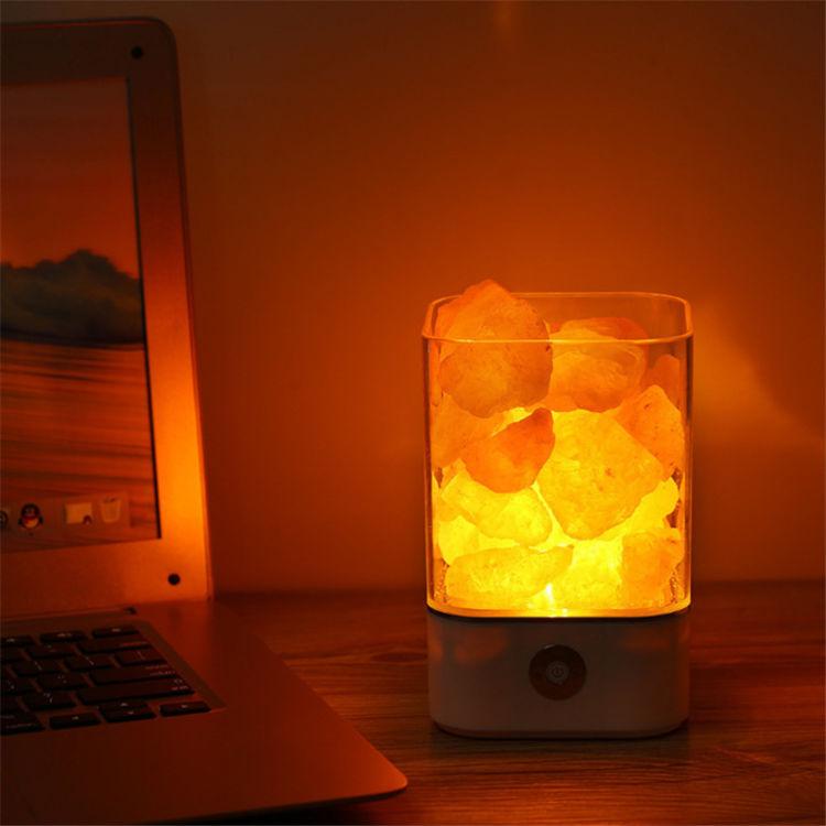 M2/M4喜马拉雅水晶盐石灯负离子空气净化盐矿灯USB七彩小夜灯包邮
