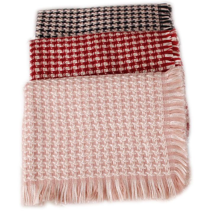 新款仿羊绒围巾女秋冬季小香风加厚保暖百搭两用长披肩围脖批发
