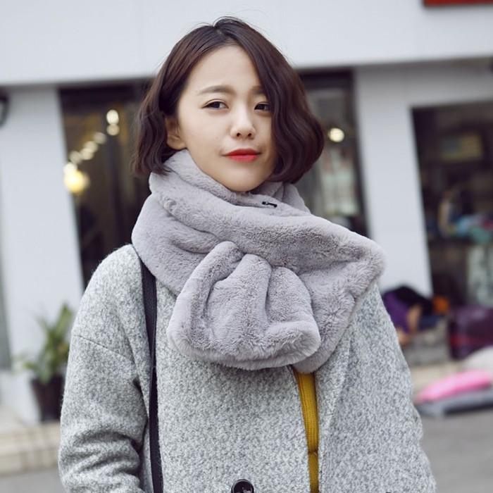 韩国冬季仿皮草毛领子毛毛绒围巾女韩版仿獭兔围脖套头假领子学生