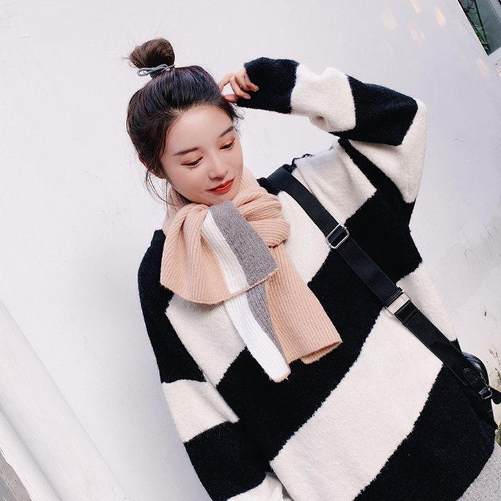 围巾女冬季韩版学生毛线百搭针织长款加厚保暖原宿小清新拼接围脖
