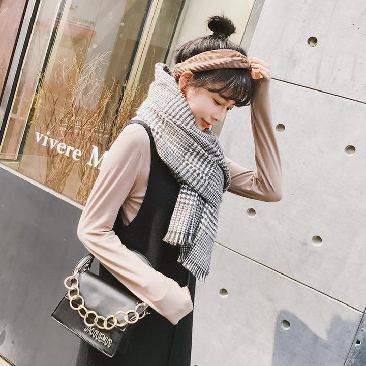 渐变韩版女加厚保暖百搭长款千鸟格披肩两用批发
