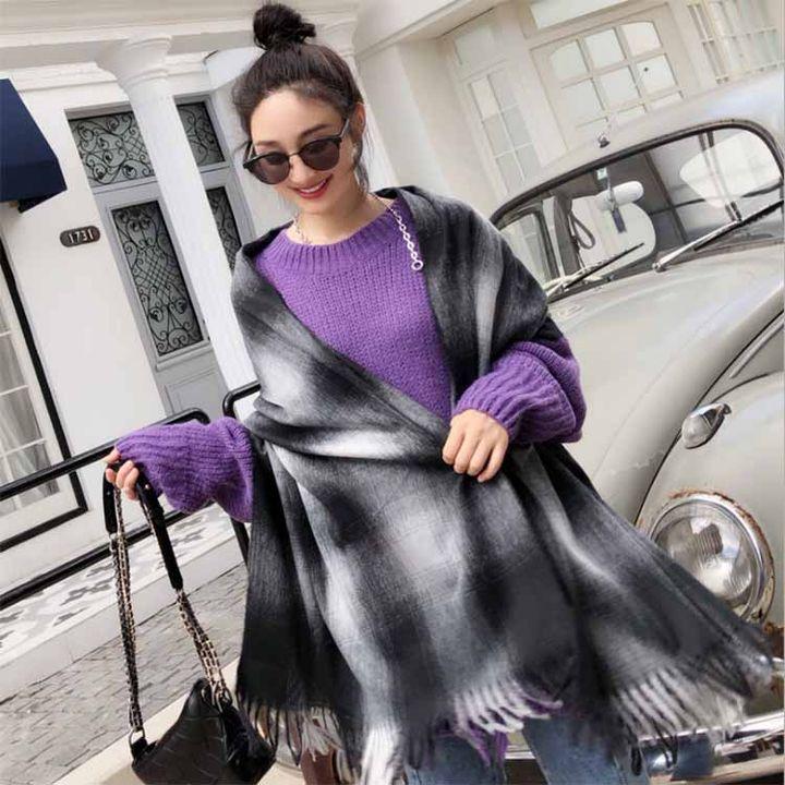2018秋冬新款 仿羊绒围巾黑灰色渐变女士流苏保暖披肩大围脖