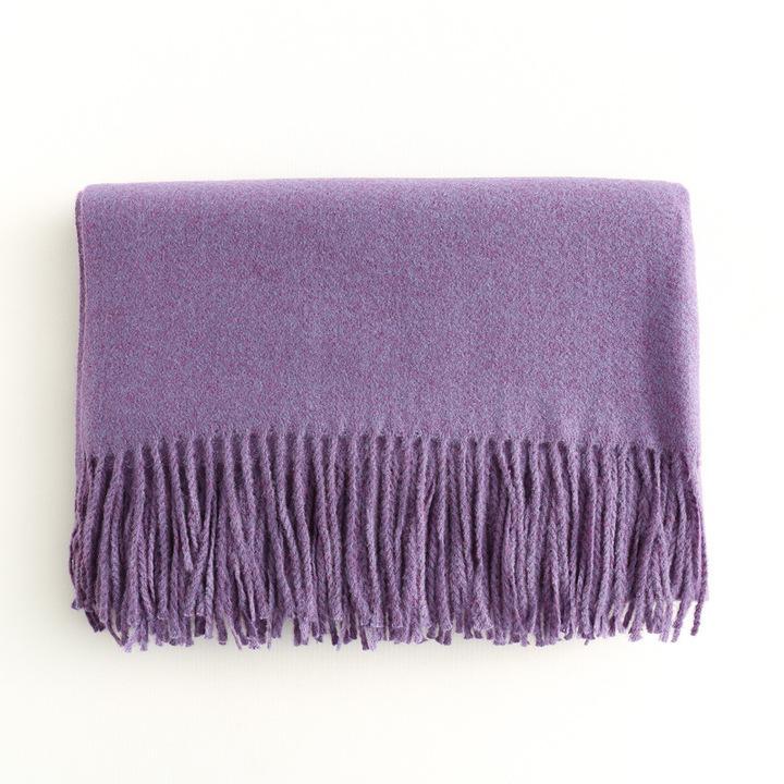 澳洲归国礼品厂家特价2018秋冬女士纯色羊毛围巾厚款披肩加长围脖