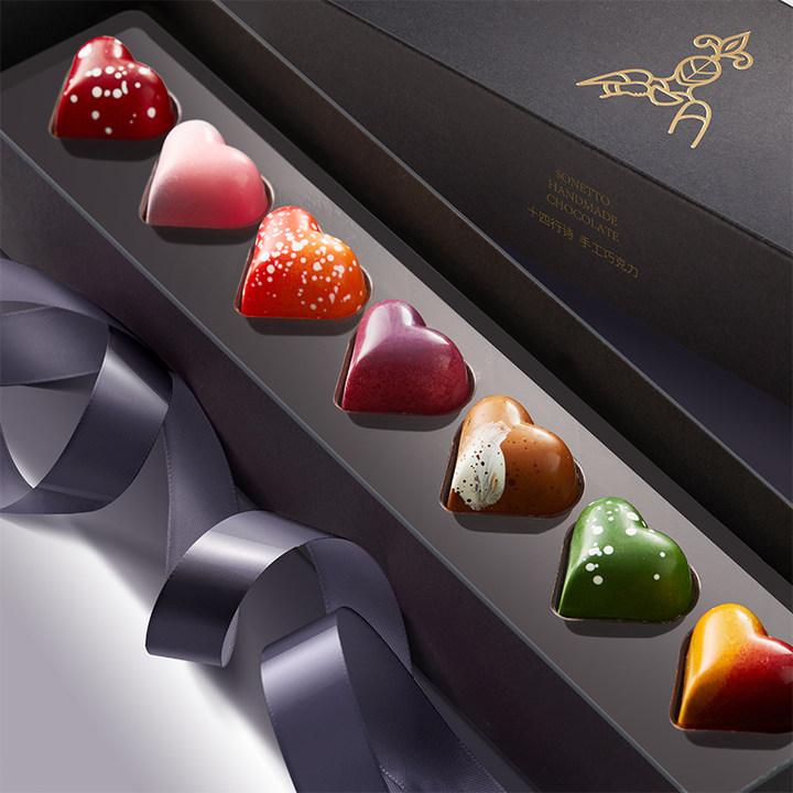 十四行诗手工巧克力七色七味心形夹心巧克力礼盒