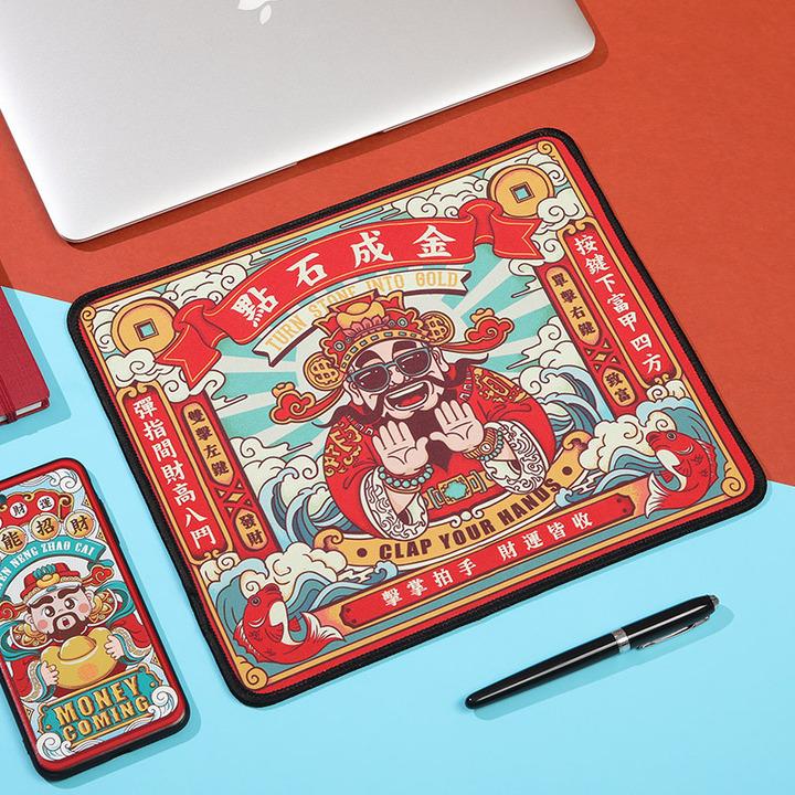 原创国潮鼠标垫小号个性卡通电竞游戏办公电脑超大桌垫萌加厚锁边