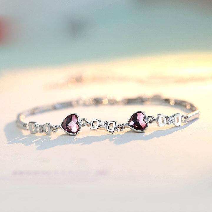 925银水晶爱心手链礼物