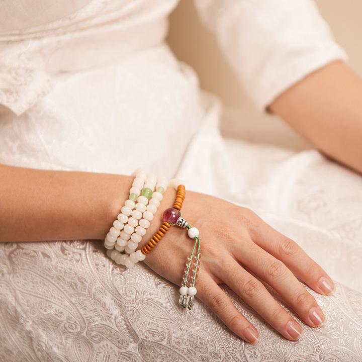 【平安智慧 吉祥如意】108颗白玉菩提琉璃手链