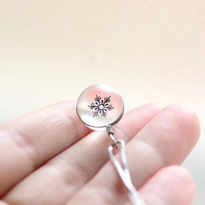 PAVLA雪花水晶球纯银项链