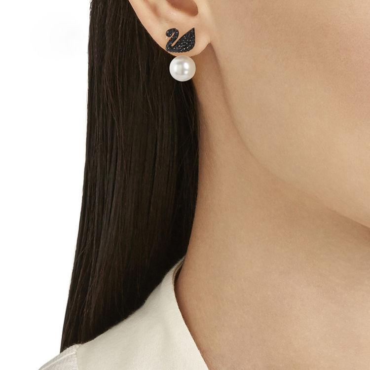 黑天鹅珍珠穿孔耳环,女票说,这个情人节只喜欢你送她珍珠