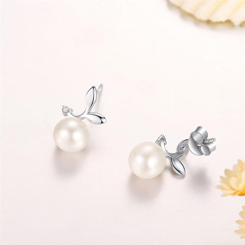 品廷原创初心系列萌芽925银镶珍珠耳钉