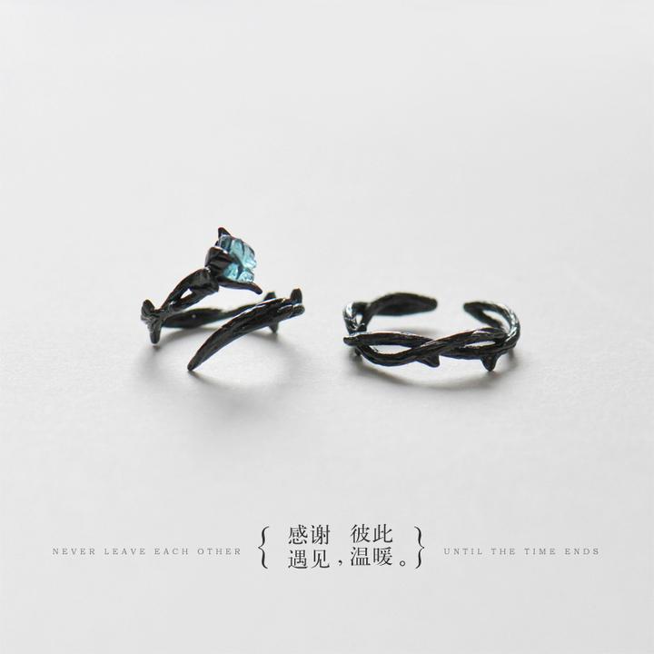 花芽原创荆棘情侣对戒纯银戒指一对日韩男女潮人个性开口尾戒礼物