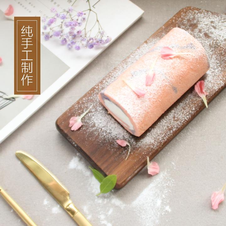 粉紫色草莓酸奶蛋糕卷(发顺丰)纯手工自制无添加