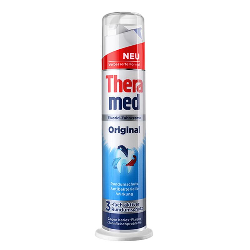 德国 Theramed/泰瑞美 站立式牙膏 100ML 3支装(红、绿、灰、蓝随机发货)