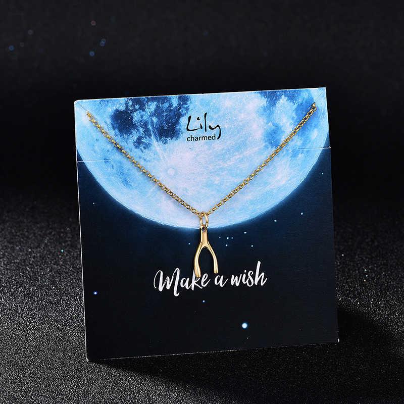 LilyCharmed英国设计师品牌金色许愿骨925银镀金项链锁骨链手工打造