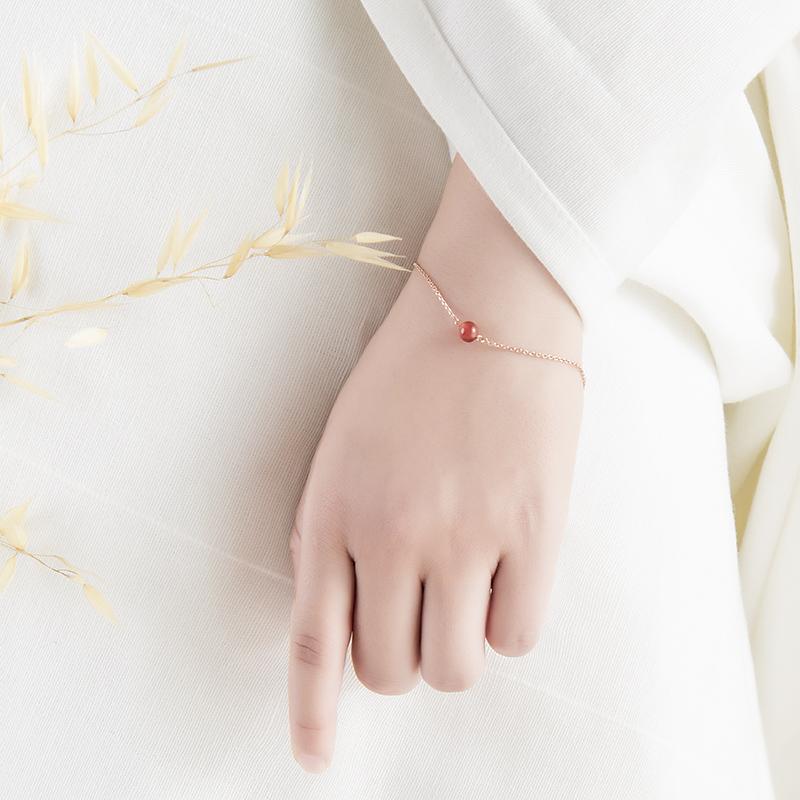 心意点点独家 红玉髓玫瑰金手链项链套装