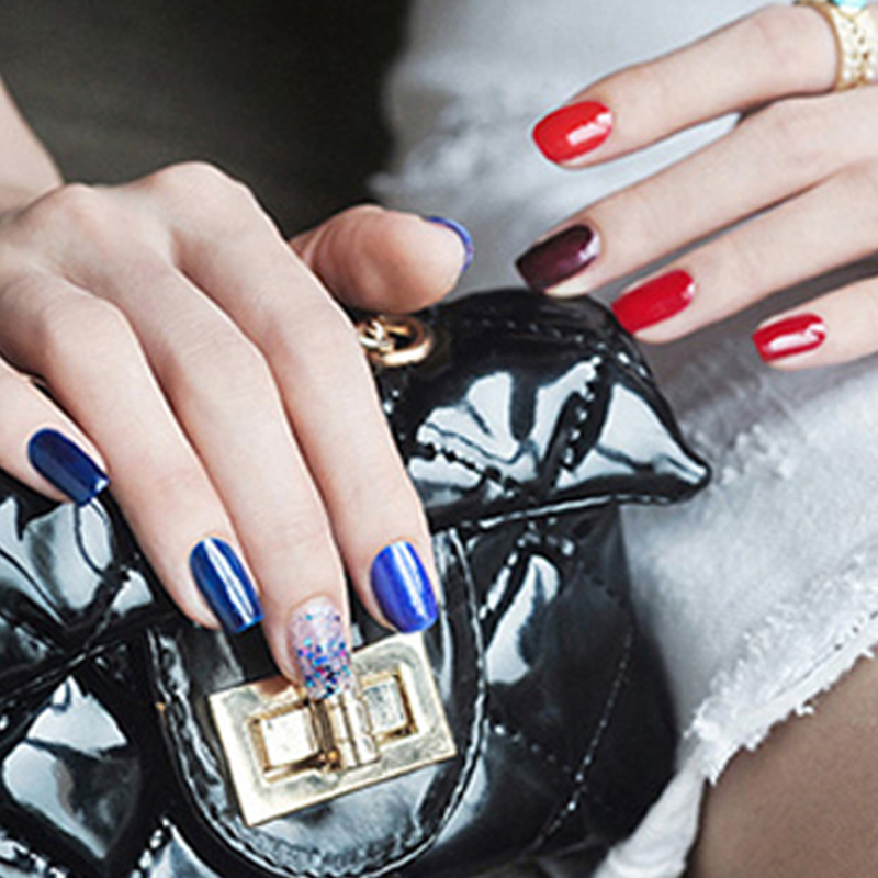 曼思(MILD'S)无味 环保 可剥 孕妇可用 指甲油璀璨深蓝套装 7ml*6(美甲)