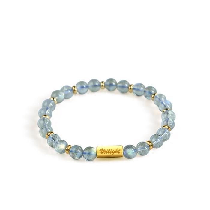 天然水晶月光石银镀手链    独立原创