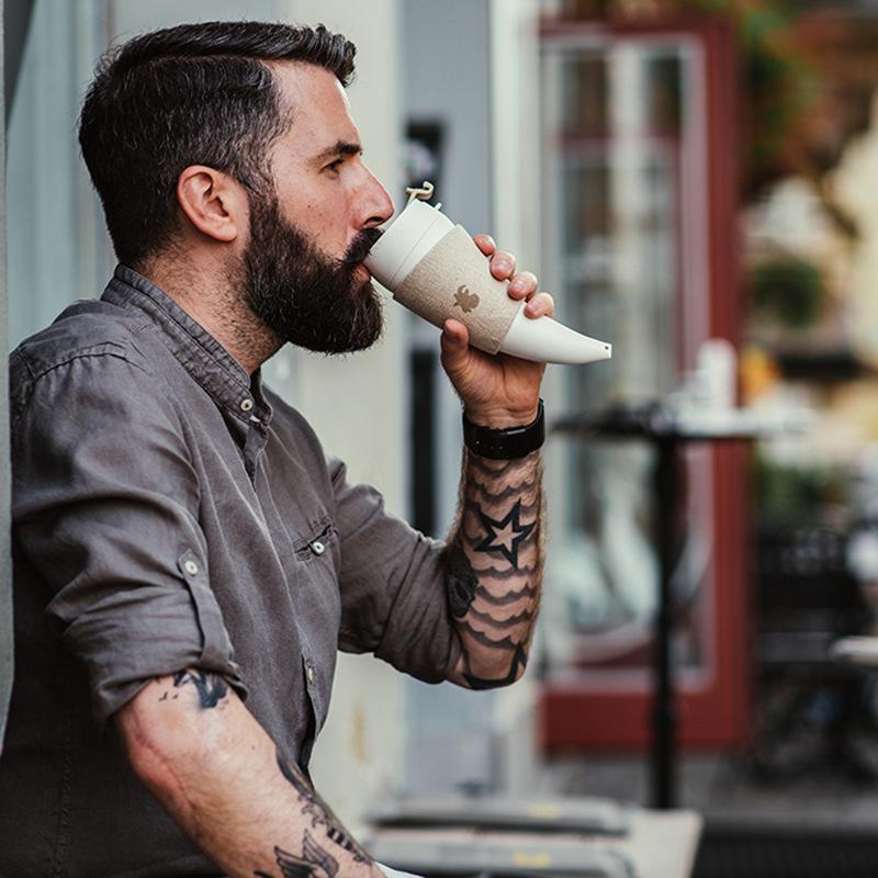 Goat Story Mug 美式情侣复古咖啡杯 个性创意 带盖杯架羊角杯