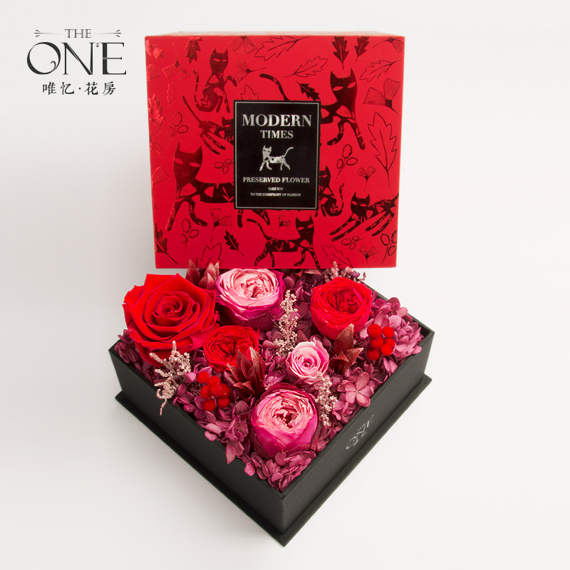 THEONE唯忆 摩登时代 高端永生花礼盒红色玫瑰花盒干花生日礼物