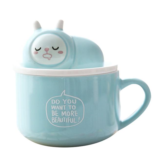 可爱大容量带盖陶瓷杯子 情侣早餐牛奶水杯 卡通马克杯咖啡杯