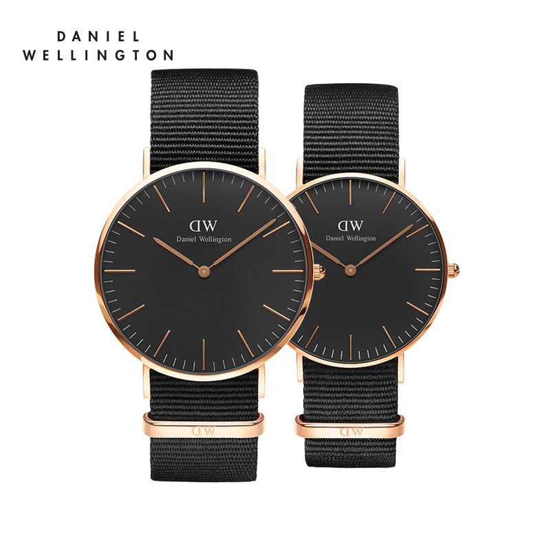 支持验货Danielwellington丹尼尔惠灵顿尼龙带黑色表盘DW手表男女情侣对表