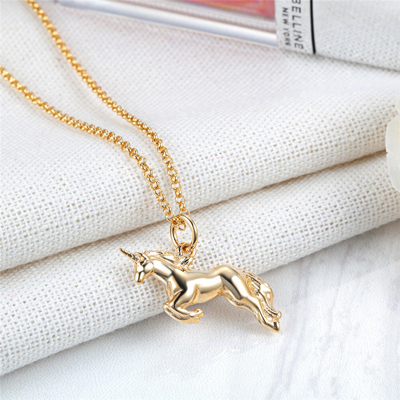 """Lily Charmed 英国设计师品牌""""奇迹由你创造""""魔法独角兽 金色 手工打造 40cm 925银镀金项链"""