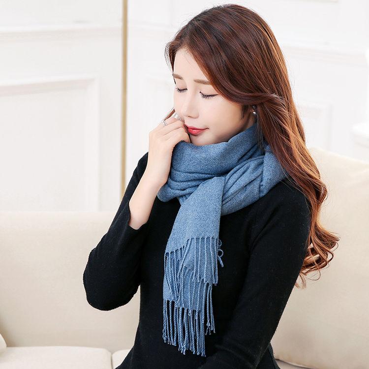 新款韩版纯色羊绒围巾,天冷了,好看百搭女式围巾来一打!