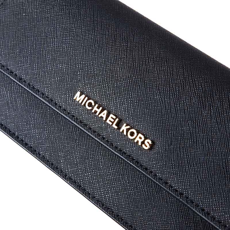 MICHAEL KORS 迈克·科尔斯 女款黑色牛皮长款翻盖钱夹 32F3GTVE7L BLACK