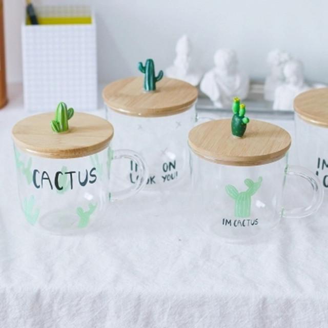可爱仙人掌带盖玻璃杯子加厚耐热办公室茶水杯情侣家居日式咖啡杯