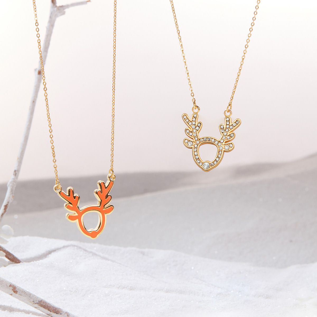 U Jewelry优集 好运小鹿双面项链
