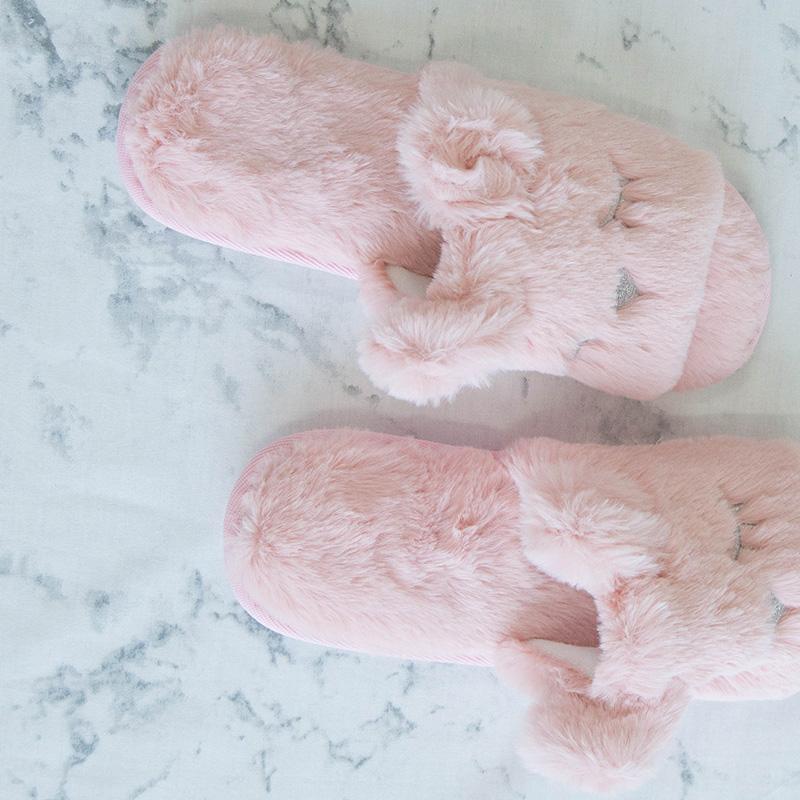 可慕家纺 仿兔毛呆呆熊拖鞋可爱少女心居家鞋C