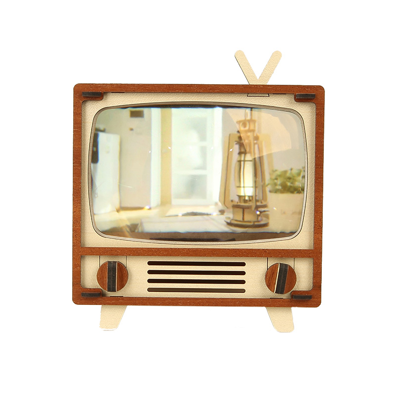 韩国WOODSUM木质拼装复古电视