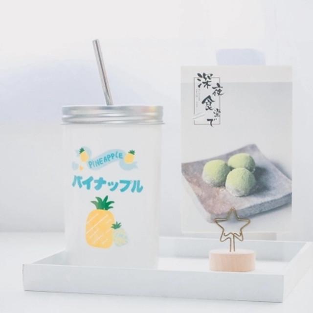 创意可爱成人吸管杯子日式陶瓷带盖马克杯韩国咖啡杯冷饮杯大容量