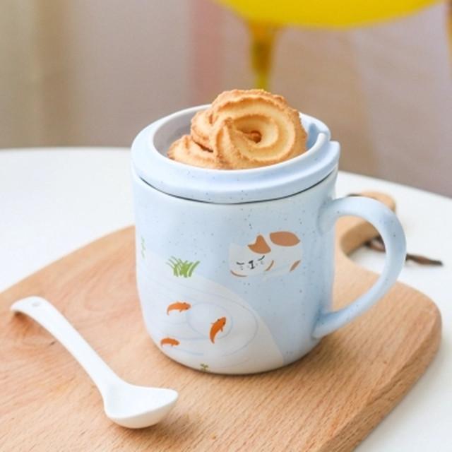 日式和风手作马克杯子 可爱家居陶瓷杯带盖勺 日本办公室水杯情侣
