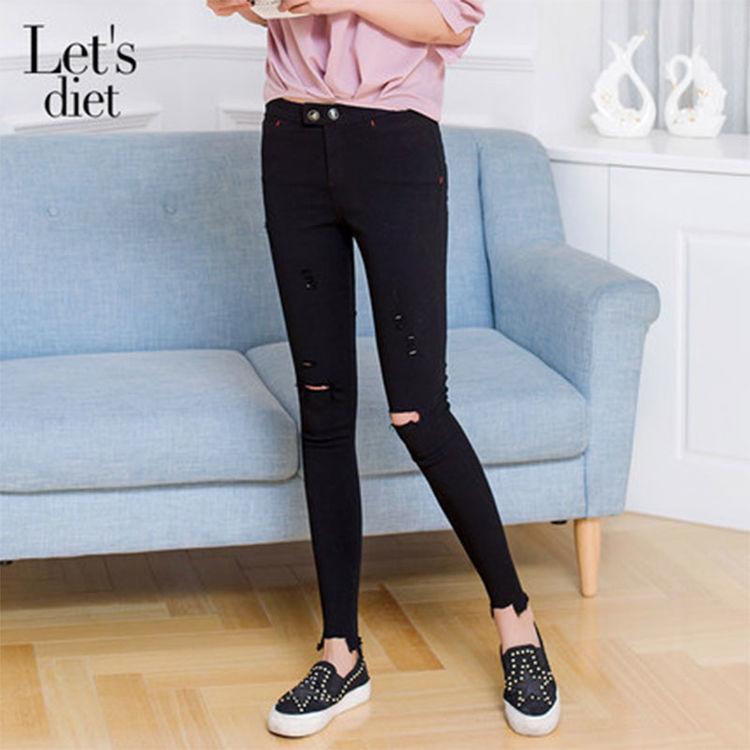 破洞裤 显瘦 铅笔裤,这个神奇的小破洞,竟然能拉腿长5cm?!