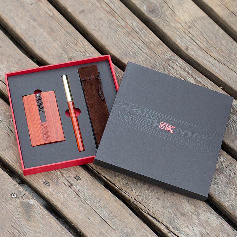匠艺 八方木笔名片盒两件套 小叶红檀