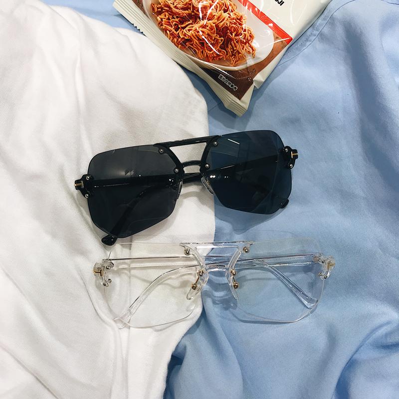 @港仔文艺男 2018夏季男士透明遮阳平光镜太阳眼镜个性情侣墨镜