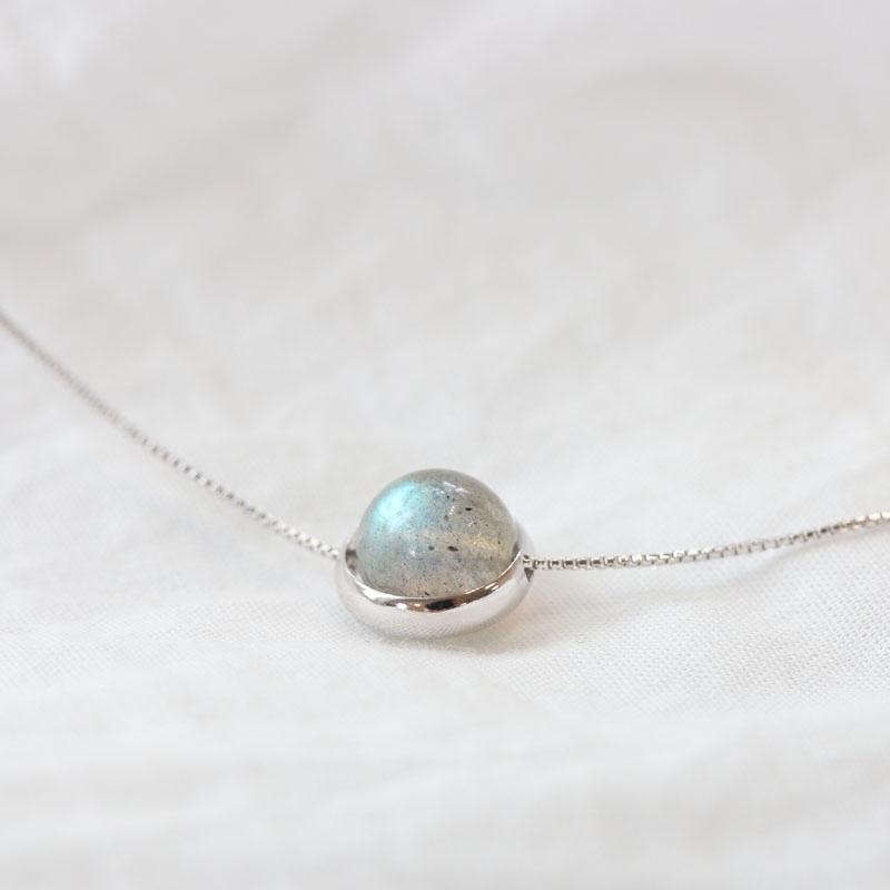 夏季银项链S925银项链女圆形天然宝石月光石珠子超细锁骨链礼物