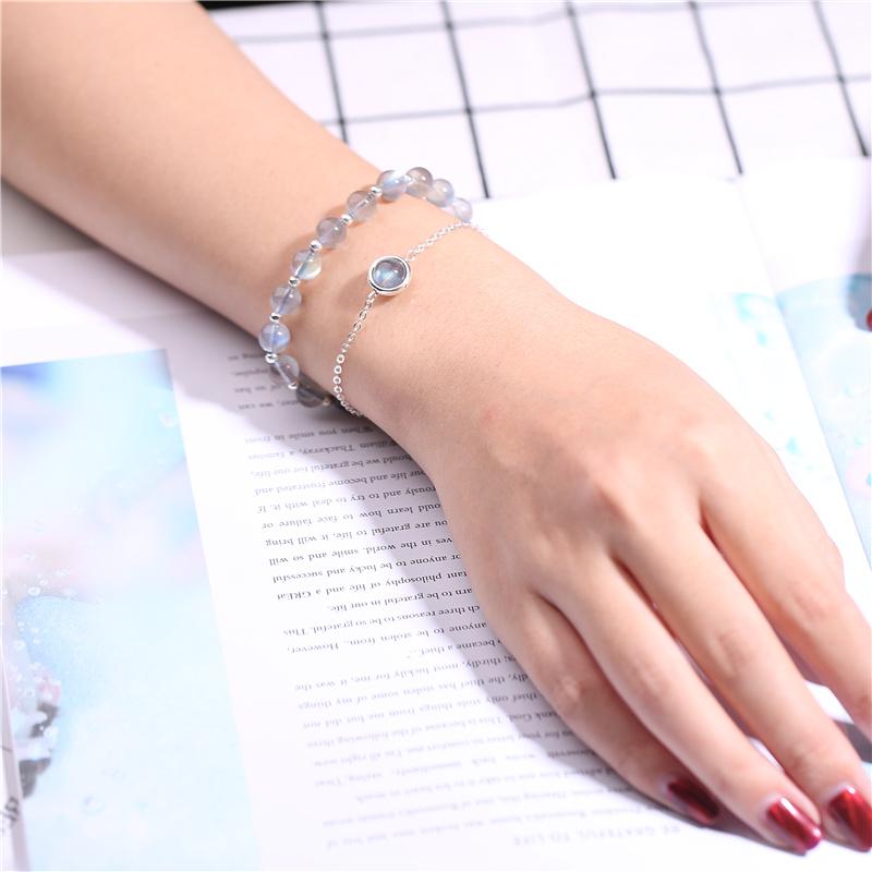 天然草莓晶手链女招桃花粉色水晶手链女紫水晶金发晶月光石转运珠