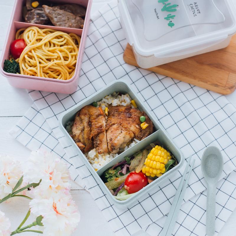 韩版麦秸秆饭盒分格小学生便当盒带盖分隔儿童餐盘微波炉成人餐盒