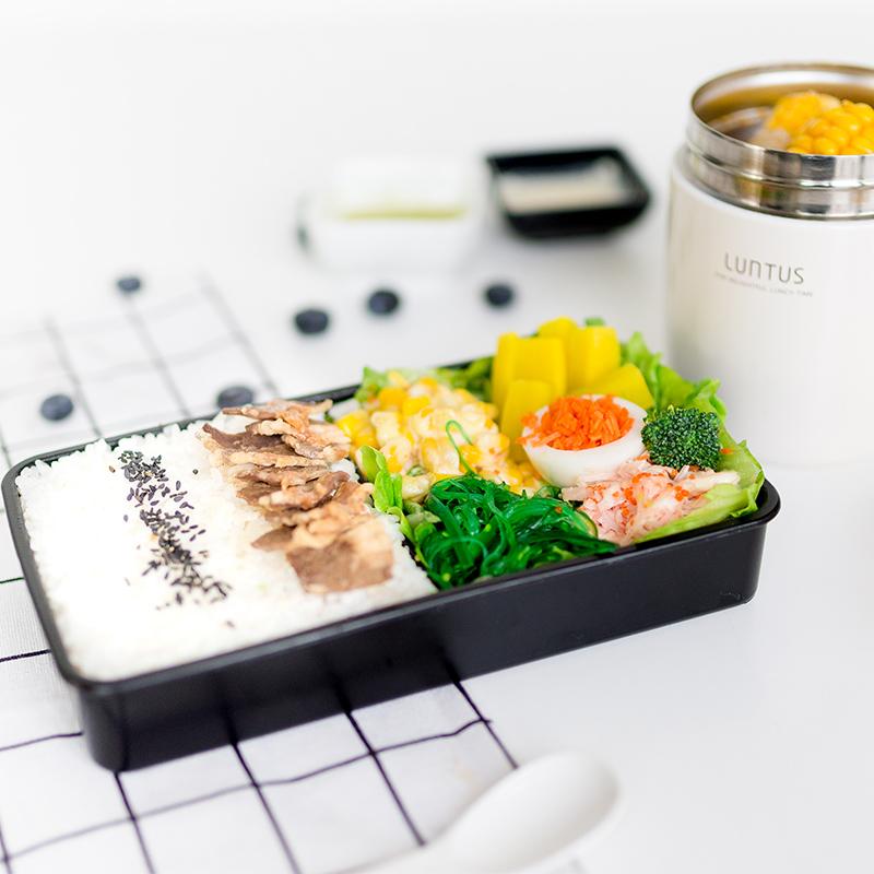 日本ASVEL男款饭盒单层长方形健身午餐盒微波日式便当盒850ml筷子